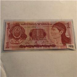 Rare 1 Lempira HONDURAS Bill in UNC Condition