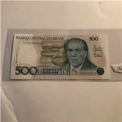 Rare 500 Cruzados BRASIL Bill in UNC Condition
