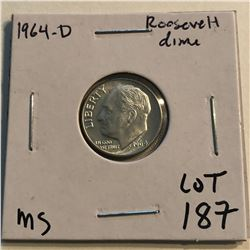1964 D Roosevelt Silver Dime Nice MS High Grade Early US Coin