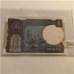 Rare 1 Rupee INDIA Bill in UNC Condition