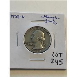 1958 D Silver Washington Quarter Nice Early US Coin