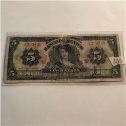 OLD 1957 5 Pesos MEXICO Bill in Very Fine Condition