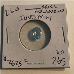 HUGE 2.60 Carat Rare BRASILIAN AQUAMARINE Investment GEM