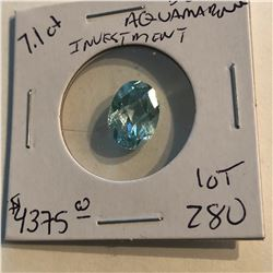 HUGE 7.10 Carat Rare BRASILIAN AQUAMARINE Investment GEM