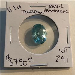 HUGE 11.10 Carat Rare BRASILIAN AQUAMARINE Investment GEM