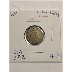 1891 Seated Liberty Silver Dime Nice Early US Coin