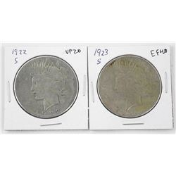 Lot (2) 1922s and 1923S Silver Peace Dollars