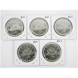 Lot (5) Canada 1966 Silver Dollar Coins