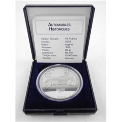 .9999 Fine Silver 10 Francs Proof Coin - Bentley 1