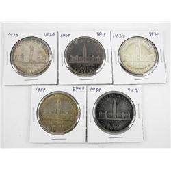 Lot (5) Canada 1939 Silver Dollar Coins
