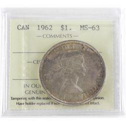 1962 Canada Silver Dollar MS63 ICCS.