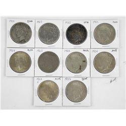 Lot (10) U.S. Silver Dollars Mixed Dates