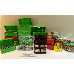 AMMO:  APPROX 68 X LIVE AND LG QTY BRASS .38 SPL