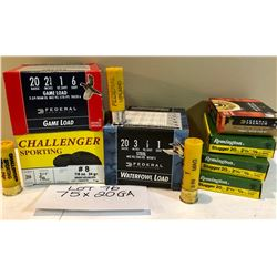 AMMO:  75 X 20 GA INCLUDING 14 X STEEL & 16 X SLUG