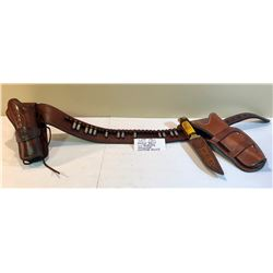LEATHER AMMO BELT W / .45 COLT BLANKS, DBL HOLSTER, HUNTING KNIFE