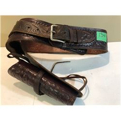BEAUTIFULLY TOOLED LEATHER AMMO BELT WITH HOLSTER