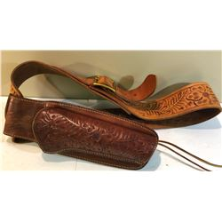 TOOLED MEXICAN LEATHER AMMO BELT & HOLSTER