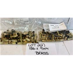 BRASS:  186 X 9 MM - ONCE FIRED