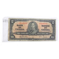 Bank of Canada 1937 Two Dollar Note. G/T
