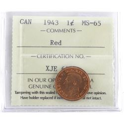 1943 Canada 1 Cent Coin MS-65. ICCS. (MER)