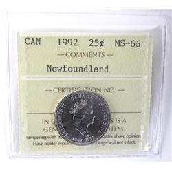 1992 Canada 25 Cent ICCS. NFLD MS-66