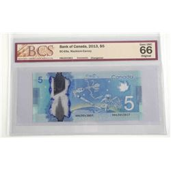 Bank of Canada 2013 Five Dollar Note. Changeover U