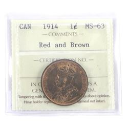1914 Large One Cent MS63 Red and Brown. ICCS. (SOE