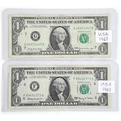 Lot (2) USA 1.00 Note 1963 and 1969