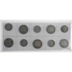 Lot (10) Early Canadian Silver Coins