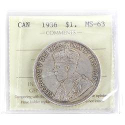 1936 Canada Silver Dollar MS63. ICCS. (SMR)
