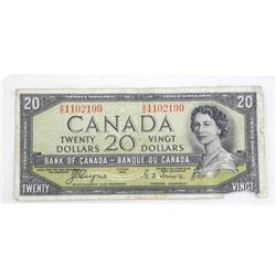 Bank of Canada 1954 Twenty Dollar Note Devil's Fac