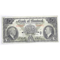 Bank of Montreal 1935 Five Dollar note. (MKR)