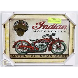 NEW INDIAN MOTORCYCLE MODEL 101 SCOUT TIN SIGN