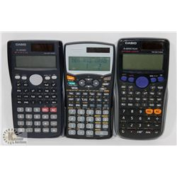 LOT OF 3 SOLAR/BATTERY SCIENTIFIC CALCULATOR