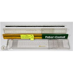 LOT OF 3 ASSORTED 3 SIDED RULERS, 1 SLIDE RULE