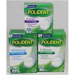 BAG OF ASSORTED POLIDENT DENTURE CLEANERS