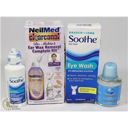 BAG WITH EYE WASH, EAR WAX REMOVAL KIT AND MORE