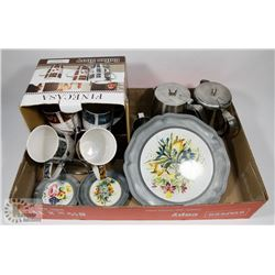 FLAT OF FINECASA COFFEE SET, PEWTER PLATE AND