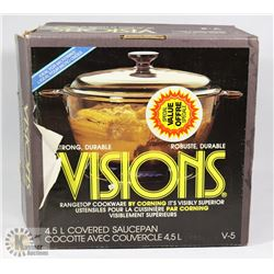 NEW VISIONS 4.5L COVERED SAUCEPAN