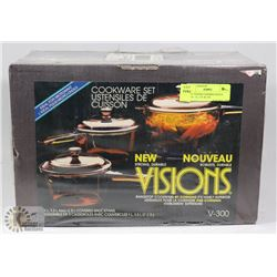 NEW VISIONS COVERED SAUCE PANS - 1L, 1.5L & 2.5L