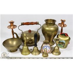 FLAT OF ASSORTED BRASS BELLS, CANDLE HOLDERS &