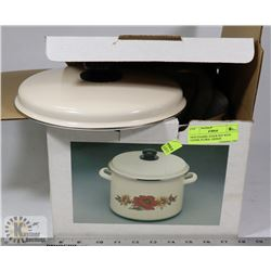 NEW ENAMEL STOCK POT WITH COVER, FLORAL DESIGN