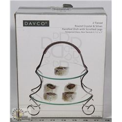 DAVCO 2 TIERED ROUND CRYSTAL & SILVER COLOUR