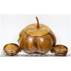 WOODEN NUT SERVER BOWL WITH SERVING CUPS.
