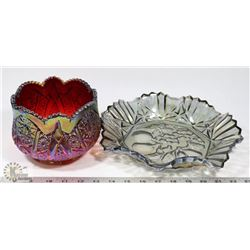 CARNIVAL GLASS SERVING DISH AND BOWL