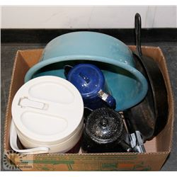 BOX OF CAMPING SUPPLIES - NEW COOLER, 2 ENAMEL,