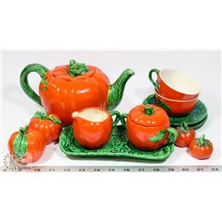 TOMATO TEA SET WITH CREAM, SUGAR, SALT & PEPPER.