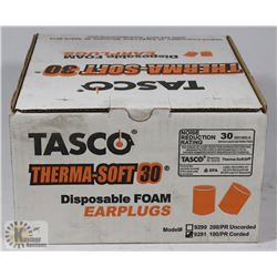 BOX OF TASCO DISPOSABLE EARPLUGS