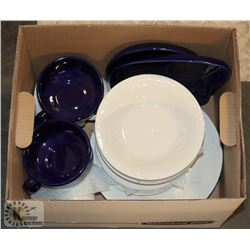 BANKERS BOX OF WHITE AND BLUE DISHES