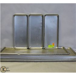 BOX OF STAINLESS STEEL TRAYS.